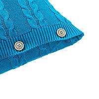 Подушка декоративная Ohaina на пуговицах вязаная в косы 40х40 хлопок цвет лазурь