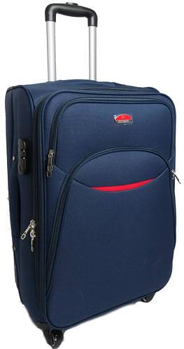 Средний тканевый чемодан 56 л. на 4-х колесах Suitcase 013754-blue синий