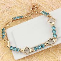 005-0592 - Замечательный позолоченный браслет с голубыми фианитами, 17.0-19.5 см