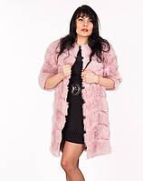 """Розовая шуба """"Ариадна""""  из кролика с коротким рукавом"""