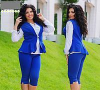 Женский летний костюм бриджи и жилет стрейч тиар размеры 48.50.52.54.56