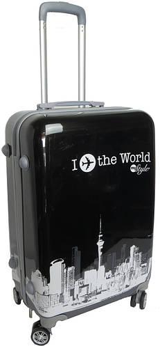 """Средний 4-колесный пластиковый чемодан 60 л. myStyle """"I fly the world"""" 5292 black, черный"""