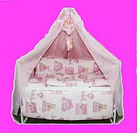 """Постельный набор в детскую кроватку """"Bonna Comfort"""" Мишульки и домик  розового цвета"""