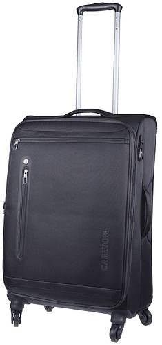 Большой черный чемодан из ткани на 4-х колесах CARLTON 100J469;01, 77 л.