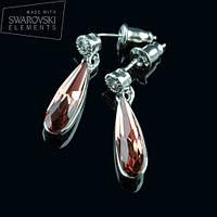 012-0015 - Необыкновенные серьги-гвоздики родий с кристаллом Swarovski Raindrop Fancy Blush Rose