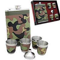 Фляга камуфляж, четыре стаканчика и лейка в подарочном наборе