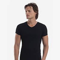 Модная футболка мужская черная рибана, мыс, Oztas.