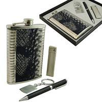 9oz Фляга с кожаной вставкой в наборе с зажигалкой, ручкой и брелком.