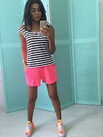 Костюм женский летний С розовыми шортами