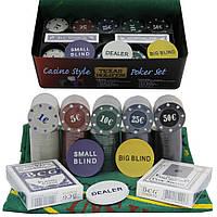 Набор покерный 200 фишек, карты и полотно в металлической упаковки