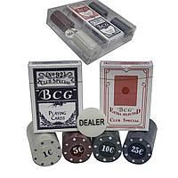 Набор покерный 100 фишек и карты, в подарочной упаковке.