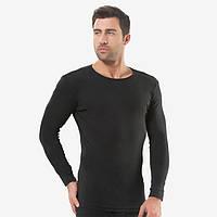Мужская футболка черная с круглым воротом и длиным рукавом