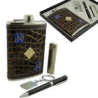 9oz Фляга Jack Daniels в наборе с зажигалкой, ручкой и брелком.