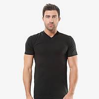 Модная футболка мужская черная, кулирка, мыс