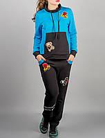 """Спортивный женский костюм с нашивками """"Бирюзовый Драйв"""" в молодежном стиле"""