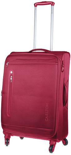 Большой красный чемодан из ткани на 4-х колесах CARLTON 100J469;22, 77 л.