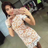 Женское красивое кружевное платье с коротким рукавом