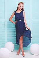 Летнее платье в горошек в греческом стиле с асимметричной юбкой на запах