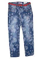 Летние подростковые джинсы для девочек в цветочек  голубые 134-164р. В остатке134,158,164р.