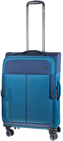 Практичный синий чемодан из ткани на 4-х колесах CARLTON 099J455;70, 45 л.