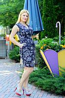 Неповторимое женское платье приталенного фасона с боковыми карманами и цветочным принтом лен батал