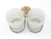 Стакан для зубных щеток двойной Andex Classic, хром-золото