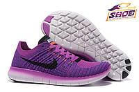 Воздушные фиолетовые женские спортивные кроссовки Nike Free Run Flyknit ( новинки весна, лето, осень )