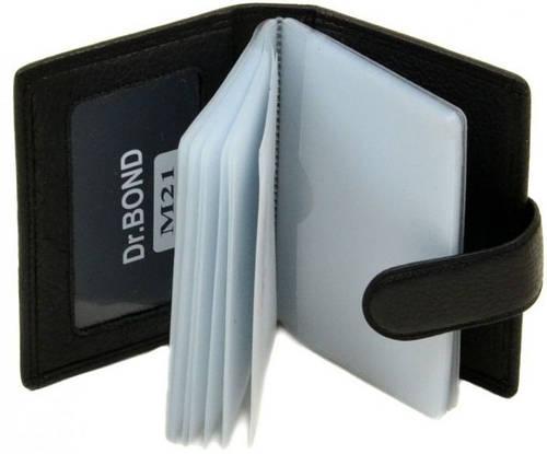 Удобная карманная визитница из натуральной кожи dr.Bond M21 black, черный