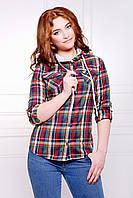 Женская приталенная рубашка в клетку с капюшоном темно синяя с красным зеленым и молочным