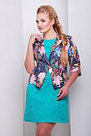 Укороченный женский пиджак с рукавом три четверти темно синий с цветами