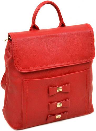 Яркий женский рюкзак из искусственной кожи 10 л. 06-1 16209 red, красный