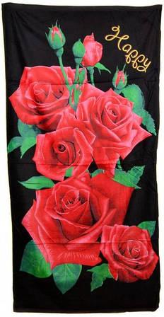 Потрясающее пляжное полотенце 75х140 махра 8585-15 черное