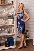 Платье 853 темно синее с белым узором визуально сужающее талию нарядное облегающее декорировано бантом
