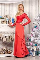 Платье 829 коралловое с декольте длинное в пол с облегающим верхом гипюровым и юбкой с косым воланом