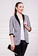 Пиджак Фора с принтом Буквы в черно белой гамме без застежки свободного кроя удлиненный