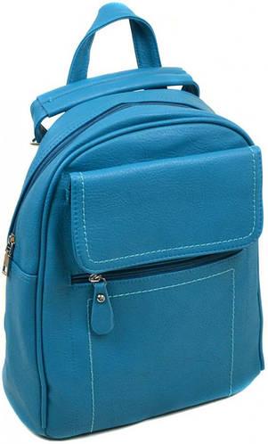 Женский качественный рюкзак из искусственной кожи 14 л. 06-1 16206 l-blue, синий
