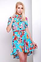 Голубое в цветочек платье-рубашка с коротким рукавом и расклешенной юбкой из штапеля