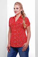 Летняя женская рубашка большого размера из ситца красная в мелкий принт