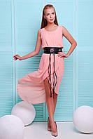 Летнее шифоновое платье с асимметричной юбкой на запах