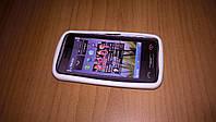 Чехол накладка Nokia C6-01 белая силикон + пластик