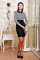 Платье Виктория д/р чёрно-белое с узором-лапка облегающее до колена трикотажное строгое