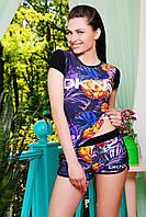 Костюм летний DKNY №2 с тропическим разноцветным принтом на черном фоне - футболка и короткие шорты