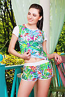 Костюм летний DKNY №1 с тропическим разноцветным принтом и белой отделкой - футболка и короткие шорты