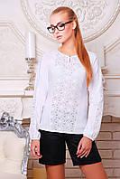 Блуза Купава д/р белая полуприталенная из бенгалина и прошвы