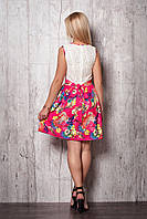 Летнее платье с гипюровым верхом и пышной шелковой юбкой в цветы