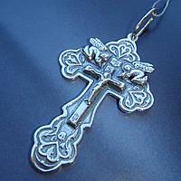 Оригинальный серебряный крест с распятием и ангелами