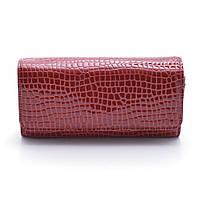 Стильный женский кошелек-клатч Ronaerdo из натуральной кожи с добавлением экокожи PU красного цвета