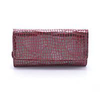 Стильный женский кошелек-клатч Ronaerdo из натуральной замши с добавлением экокожи PU красного цвета