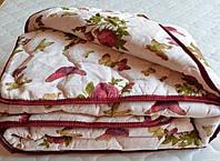 Одеяло двуспальное из овечьей шерсти Лери Макс Gold бордовые розочки и бабочки