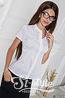 Блуза с коротким рукавом ,с кружевной вставкой 1018